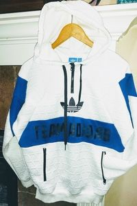 Adidas Quilted Pullover Tre Foil Hoodie Sweatshirt